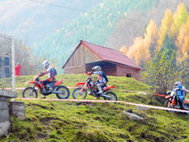 KTM Enduro motorcycles and riders Royalty Free Stock Images