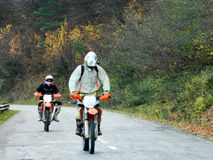 KTM Enduro motorcycles and riders Royalty Free Stock Image