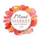 Köttprodukter i tecknad filmstil Arkivfoton