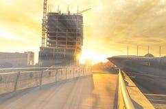 KTW die in aanbouw het centrum van Katowice, zonsondergangscène inbouwen Stock Foto's
