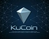 Ku-Münze blockchain Hintergrunddesign Stockbild