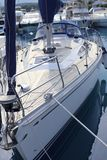 łęku pokładu łuski saiboat tekowy widok biel drewno Fotografia Royalty Free