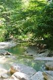 Kuago-Gebirgsfluss an einem sonnigen Sommertag (Krasnodar, Russland) Lizenzfreies Stockfoto