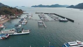 Kuahpier Vluchthommel over de haven in de stad van Kuah stock videobeelden