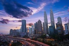Kuala Lumper linia horyzontu przy zmierzchem Obraz Stock