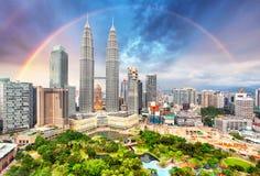 Kuala Lumper skyline with rainbow Stock Image