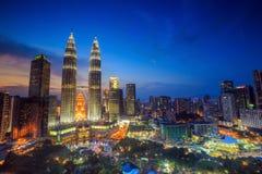 Kuala Lumper skyline at twilight Royalty Free Stock Photos
