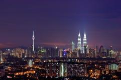 Kuala Lumpur. Panoramic view of Kuala Lumpur City Centre at night royalty free stock images