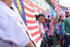 Kuala Lumpur, augustus, 2017 van Maleisië 3: Maleise primaire studenten Stock Foto's