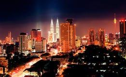 Kuala Lumpur bij Nacht Stock Foto