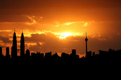 Kuala Lumpur bij zonsondergang Royalty-vrije Stock Foto