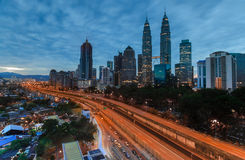 Kuala Lumpur city during blue hour. Stock Photo