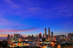 Kuala Lumpur City during blue hour Royalty Free Stock Photos