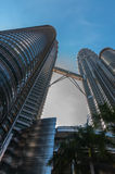 Kuala LUmpur City Center. View from down to up KLCC in the morning in the middle or centre stock photography