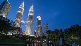 Kuala Lumpur City Centre During Blue Hour Sunset. KLCC during blue hour sunset taken from the Symphony Lake Park Stock Photo