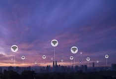 Kuala lumpur with wifi icons. Kuala lumpur city connection with futuristic line in sight royalty free stock images