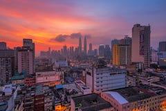 Kuala Lumpur City Hazy Sunrise fotografía de archivo libre de regalías