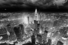 Kuala Lumpur city, Malaysia. Aerial skyline view to Kuala Lumpur city, Malaysia. Cityscape business skyscrapers night downtown. Black and white toned royalty free stock images