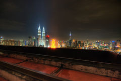 Kuala Lumpur City at night view from rooftop Royalty Free Stock Photos