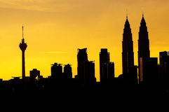 Kuala Lumpur City Silhouette Royalty-vrije Stock Afbeelding