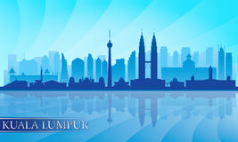 Kuala Lumpur city skyline detailed silhouette Royalty Free Stock Photos