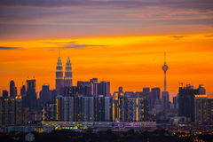 Kuala Lumpur City su penombra Immagine Stock
