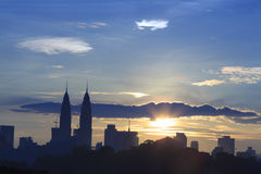 Kuala Lumpur Citys scape. KUALA LUMPUR, MALAYSIA, 13th January 2016: A Silhouette photo of Kuala Lumpur City Center KLCC and buildings in Kuala Lumpur, Malaysia Royalty Free Stock Image