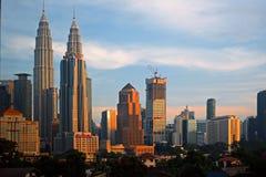 City skyline sunrise golden hour lights. Stock Image