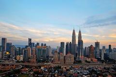 City skyline sunrise golden hour lights. Royalty Free Stock Photos