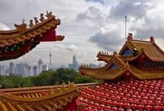 Kuala Lumpur cityscape and china roofs Stock Photo