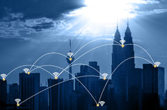 Kuala Lumpur cityscape and network connection concept Royalty Free Stock Photo