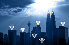 Kuala Lumpur cityscape and network connection concept Stock Photography