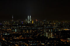 Kuala Lumpur Cityscape at Night Panorama Stock Photos
