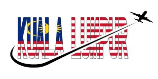 Kuala Lumpur flag text with plane and swoosh illustration Royalty Free Stock Images