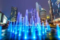 Kuala Lumpur Fountain and Cityscape Stock Photo