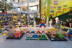 Kuala Lumpur gränsmärken som göras av Lego kvarter Fotografering för Bildbyråer