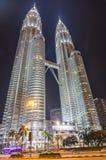 KUALA LUMPUR - KLCC. KUALA LUMPUR - MAY 22: Beautiful night lighting of Petronas Twin Towers (PTT) May 22, 2013 in Kuala Lumpur. The skyscraper height is 451.9m Royalty Free Stock Photo