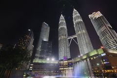 Kuala Lumpur KLCC Park Skyline by Water Fountain Stock Photography