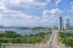 Kuala Lumpur, Malásia, torre de KPKT Ministério do bem estar urbano, do alojamento e do governo local de Malásia Construção da op Fotografia de Stock