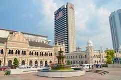 Kuala Lumpur, Malaisie - 4 octobre 2013 : fontaine d'eau dans la place de Merdeka en Kuala Lumpur Malaysia Image stock