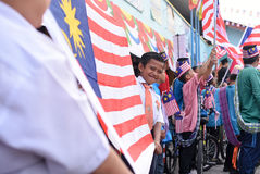 Kuala Lumpur, Malasia 3 de agosto de 2017: Estudiantes primarios malasios Fotos de archivo