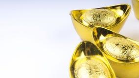 Kuala Lumpur, Malasia - 13 de diciembre de 2017: Primer del nuevo oro chino Sycees de Year's o del lingote del oro Imágenes de archivo libres de regalías