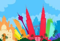 Kuala Lumpur Malaysia Abstract Skyline-Stad Royalty-vrije Stock Afbeeldingen