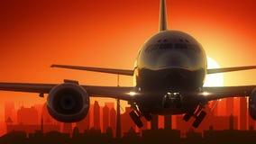 Kuala Lumpur Malaysia Airplane Take fora do fundo dourado da skyline