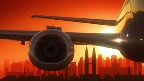 Kuala Lumpur Malaysia Airplane Take outre de fond d'or d'horizon Photos libres de droits