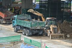 Excavators machine is heavy construction machine used to excavate soil and lifting material. KUALA LUMPUR, MALAYSIA -APRIL 16, 2019: Excavators machine is heavy stock photos