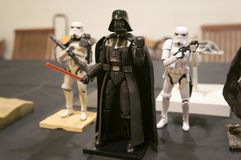 Fictional character action figures of Darth Vader from Star Wars franchise movies. KUALA LUMPUR, MALAYSIA -APRIL 25, 2018: Fictional character action figures of stock images