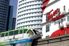 KL Monorail at Kuala Lumpur City Centre. KUALA LUMPUR, MALAYSIA - APRIL 11, 2018: The KL Monorail train at Kuala Lumpur City Centre. The KL Monorail Line is the Royalty Free Stock Photography