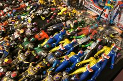 Selected focused on fictional character action figure from Japanese popular series KAMEN RIDER. stock images