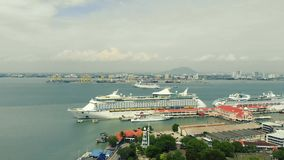 Aerial view of cruise ship stock footage